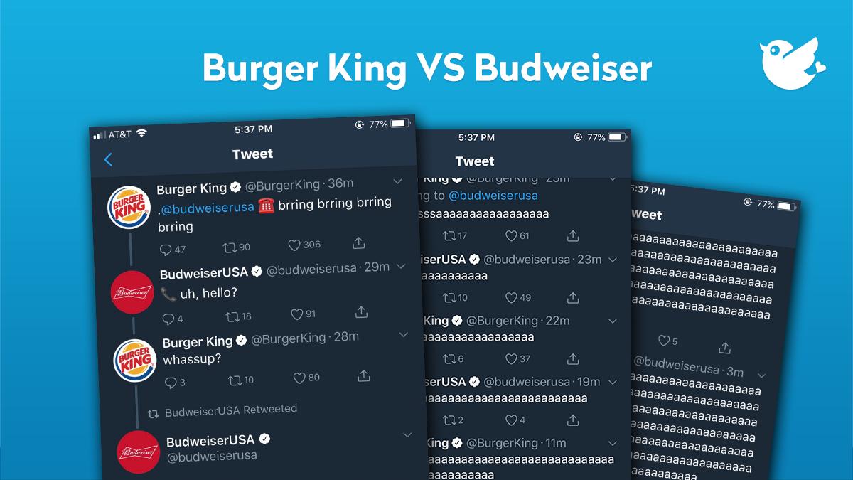 Twitter Conversation between Burger King an Budweiser