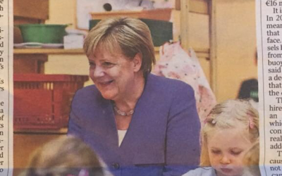 Angela Merkel visiting a kindergarten