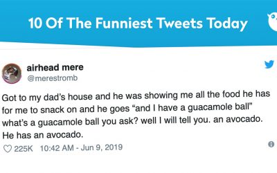 """Got to my dad's house and he was showing me all the food he has for me to snack on and he goes """"and I have a guacamole ball"""" what's a guacamole ball you ask? well I will tell you. an avocado. He has an avocado."""