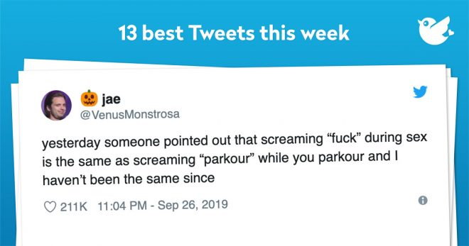 "yesterday someone pointed out that screaming ""fuck"" during sex is the same as screaming ""parkour"" while you parkour and I haven't been the same since"