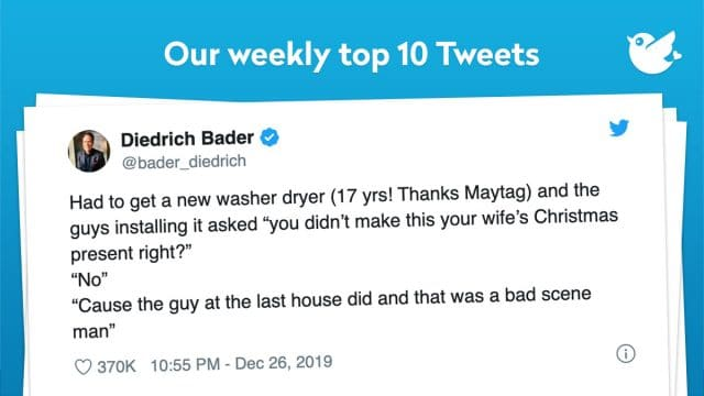 "Had to get a new washer dryer (17 yrs! Thanks Maytag) and the guys installing it asked ""you didn't make this your wife's Christmas present right?"" ""No"" ""Cause the guy at the last house did and that was a bad scene man"""