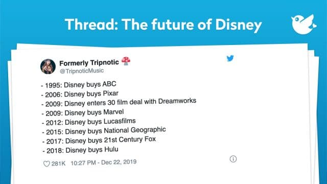 - 1995: Disney buys ABC - 2006: Disney buys Pixar - 2009: Disney enters 30 film deal with Dreamworks - 2009: Disney buys Marvel - 2012: Disney buys Lucasfilms - 2015: Disney buys National Geographic - 2017: Disney buys 21st Century Fox - 2018: Disney buys Hulu