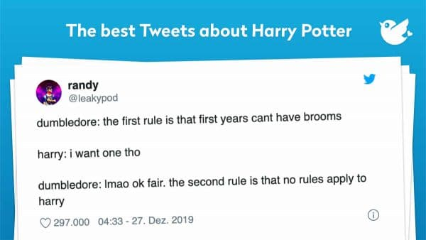 dumbledore: the first rule is that first years cant have brooms harry: i want one tho dumbledore: lmao ok fair. the second rule is that no rules apply to harry