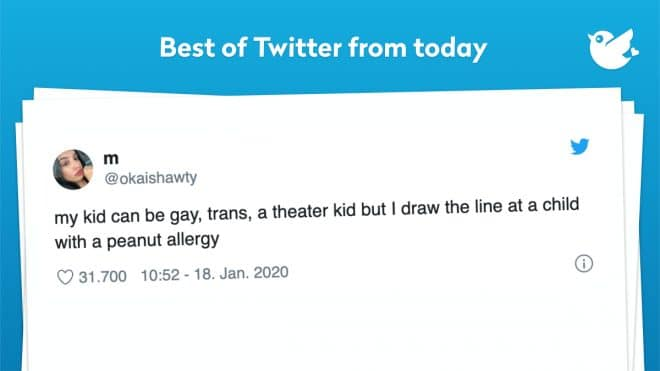 my kid can be gay, trans, a theater kid but I draw the line at a child with a peanut allergy