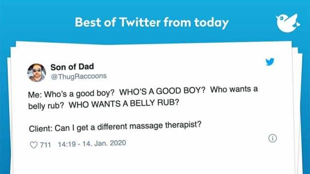 Me: Who's a good boy? WHO'S A GOOD BOY? Who wants a belly rub? WHO WANTS A BELLY RUB? Client: Can I get a different massage therapist?