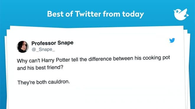 Why can't Harry Potter tell the difference between his cooking pot and his best friend? They're both cauldron.