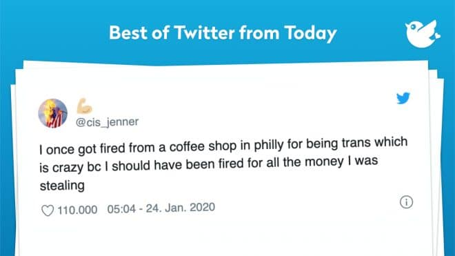 I once got fired from a coffee shop in philly for being trans which is crazy bc I should have been fired for all the money I was stealing