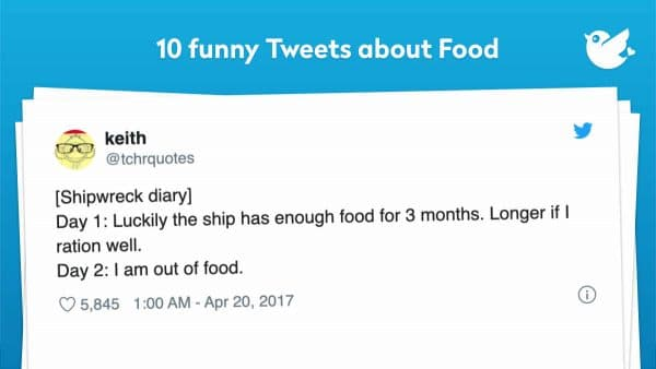 [Shipwreck diary] Day 1: Luckily the ship has enough food for 3 months. Longer if I ration well. Day 2: I am out of food.