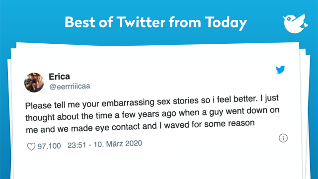 Please tell me your embarrassing sex stories so i feel better. I just thought about the time a few years ago when a guy went down on me and we made eye contact and I waved for some reason
