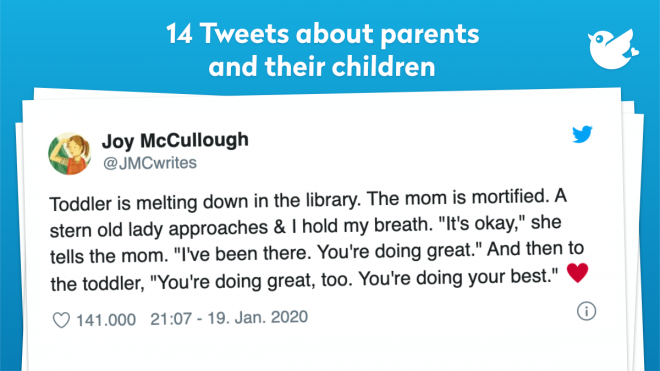 """Toddler is melting down in the library. The mom is mortified. A stern old lady approaches & I hold my breath. """"It's okay,"""" she tells the mom. """"I've been there. You're doing great."""" And then to the toddler, """"You're doing great, too. You're doing your best."""" ♥️"""
