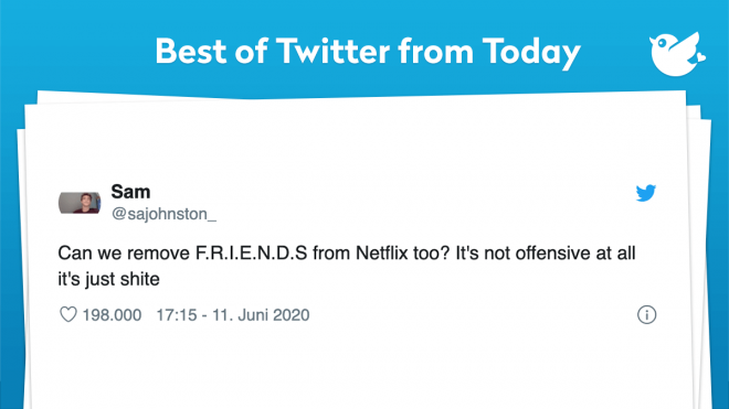 Today's Daily is very juicy. I mean we found a Tweet for all you conspiracy theorists. We found an Tweet trash-talking one of the greatest shows in history. I mean we need your feedback on this one. Should Netlfix remove F.R.I.E.N.D.S? I am pretty sure Netflix has plenty of trashy shows and movies they can remove before removing F.R.I.E.N.D.S. Well enjoy!