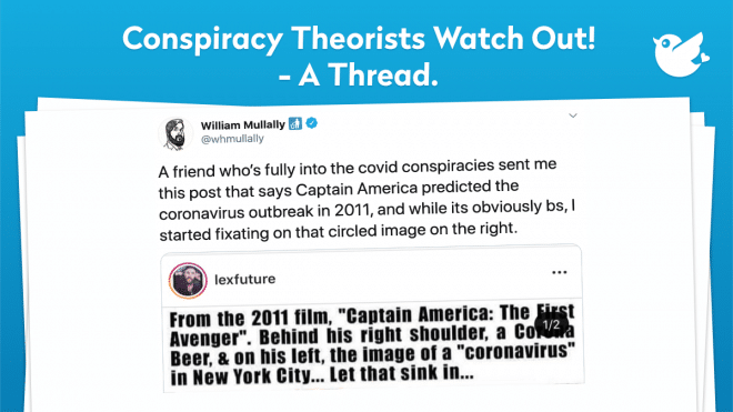 A friend who's fully into the covid conspiracies sent me this post that says Captain America predicted the coronavirus outbreak in 2011, and while its obviously bs, I started fixating on that circled image on the right.