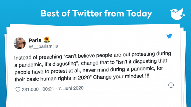"""Instead of preaching """"can't believe people are out protesting during a pandemic, it's disgusting"""", change that to """"isn't it disgusting that people have to protest at all, never mind during a pandemic, for their basic human rights in 2020"""" Change your mindset !!!"""