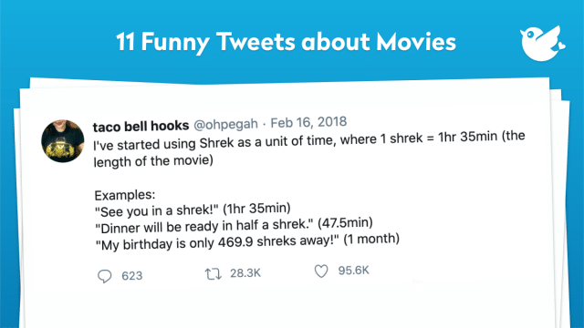 "I've started using Shrek as a unit of time, where 1 shrek = 1hr 35min (the length of the movie) Examples: ""See you in a shrek!"" (1hr 35min) ""Dinner will be ready in half a shrek."" (47.5min) ""My birthday is only 469.9 shreks away!"" (1 month)"