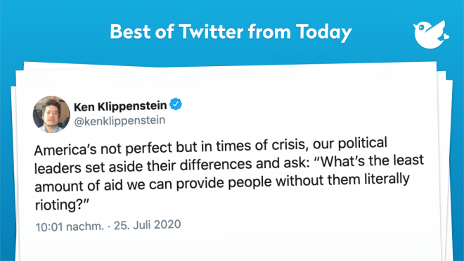 """America's not perfect but in times of crisis, our political leaders set aside their differences and ask: """"What's the least amount of aid we can provide people without them literally rioting?"""""""