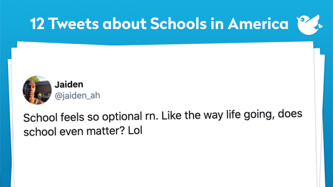 In today's Topic, we want to show everyone a little bit of humor with a little bit of reality. If you haven't guessed already, today's topic is about public schools in America. We want you to be able to see some Tweets and go back and compare it to your Public School system. About 80% of today's Tweets you will see are how it is in America. It ranges from people hearing about a school fight to school systems sending certain individuals home because of what they wore to school. So we hope you enjoy and maybe learn something from today's Topic!