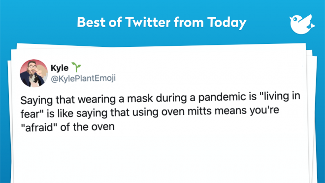 """Saying that wearing a mask during a pandemic is """"living in fear"""" is like saying that using oven mitts means you're """"afraid"""" of the oven"""