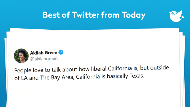 People love to talk about how liberal California is, but outside of LA and The Bay Area, California is basically Texas.