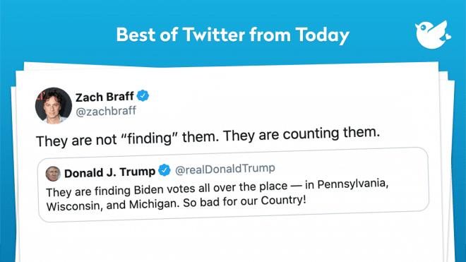 "They are not ""finding"" them. They are counting them. They are finding Biden votes all over the place — in Pennsylvania, Wisconsin, and Michigan. So bad for our Country!"