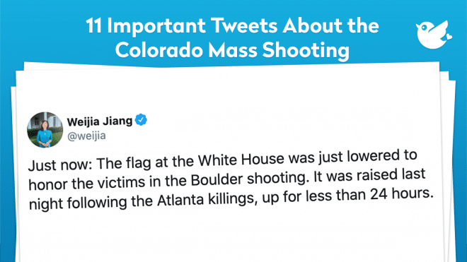 Just now: The flag at the White House was just lowered to honor the victims in the Boulder shooting. It was raised last night following the Atlanta killings, up for less than 24 hours.