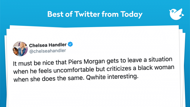 It must be nice that Piers Morgan gets to leave a situation when he feels uncomfortable but criticizes a black woman when she does the same. Qwhite interesting.